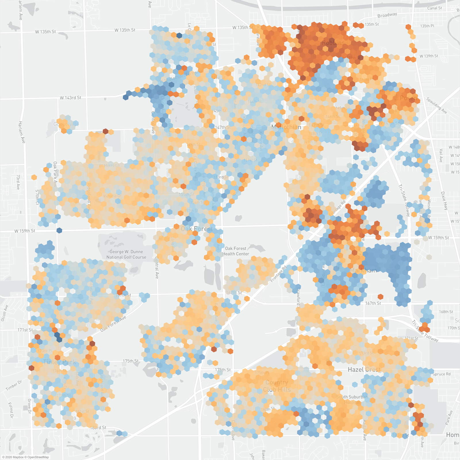map of the year over year property assessment changes in bremen township in cook county illinois.