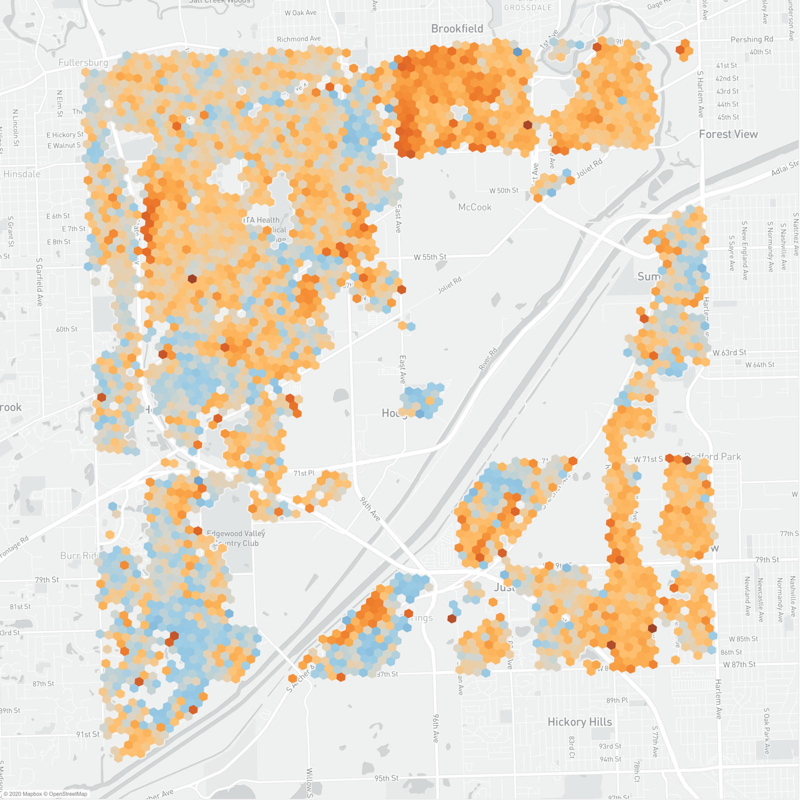 map of the year over year property assessment changes in lyons township in cook county illinois. 66% of the residential buildings are red hexagons indicating an increase in assessed value.