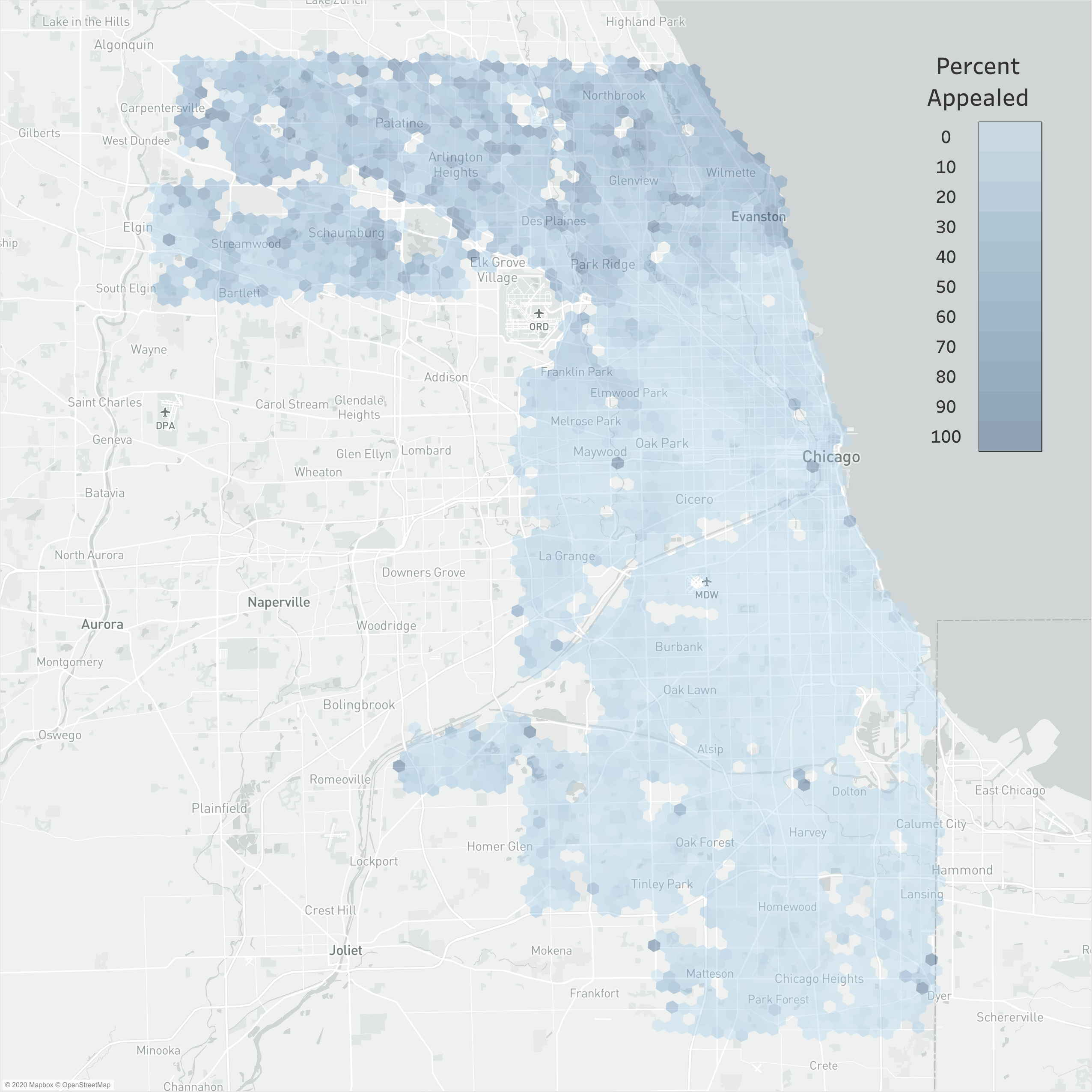map of cook county illinois with color highlighting of regions according to the percentage of properties that appealed their assessed value.